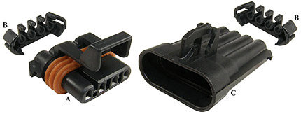 Metri-Pack Sealed 150 Four-Way Connectors (12162144, 12047948, 12162102)