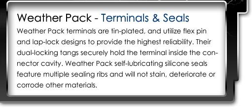 Weather Pack terminals are tin-plated, and utilize flex pin and lap-lock designs to provide the highest reliability.  their dual-locking tangs securely hold the terminal inside the connector cavity.  Weather Pack self-lubricating silicone seals feature multiple sealing ribs and will not stain, deteriorate or corrode other materials.
